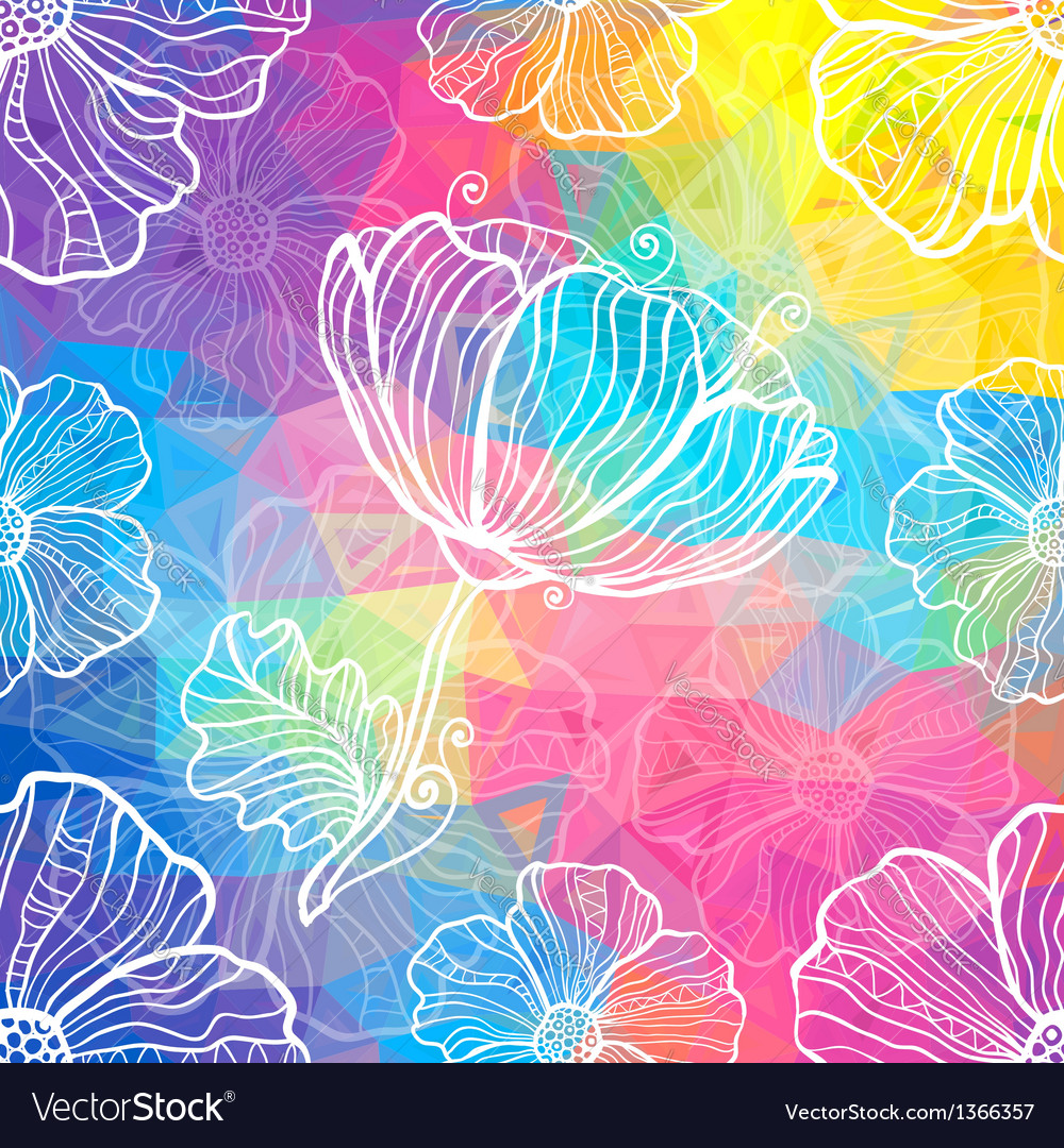 Rainbow triangles with white doodle flowers vector | Price: 1 Credit (USD $1)