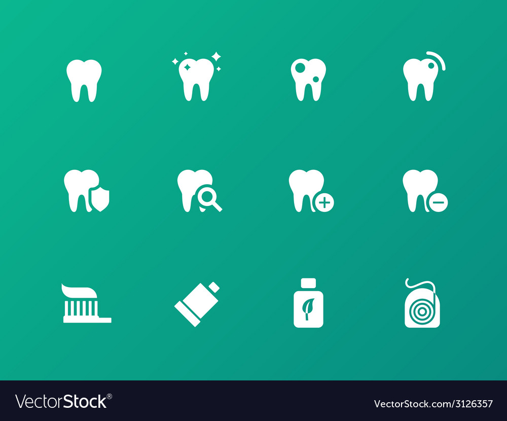 Tooth teeth icons on green background vector | Price: 1 Credit (USD $1)