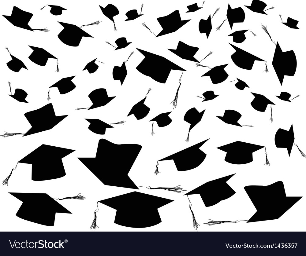 Tossing graduation caps background vector | Price: 1 Credit (USD $1)