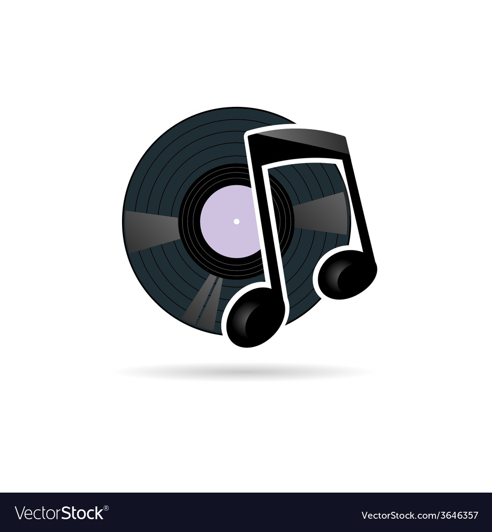 Vinyl record with note icon vector | Price: 1 Credit (USD $1)