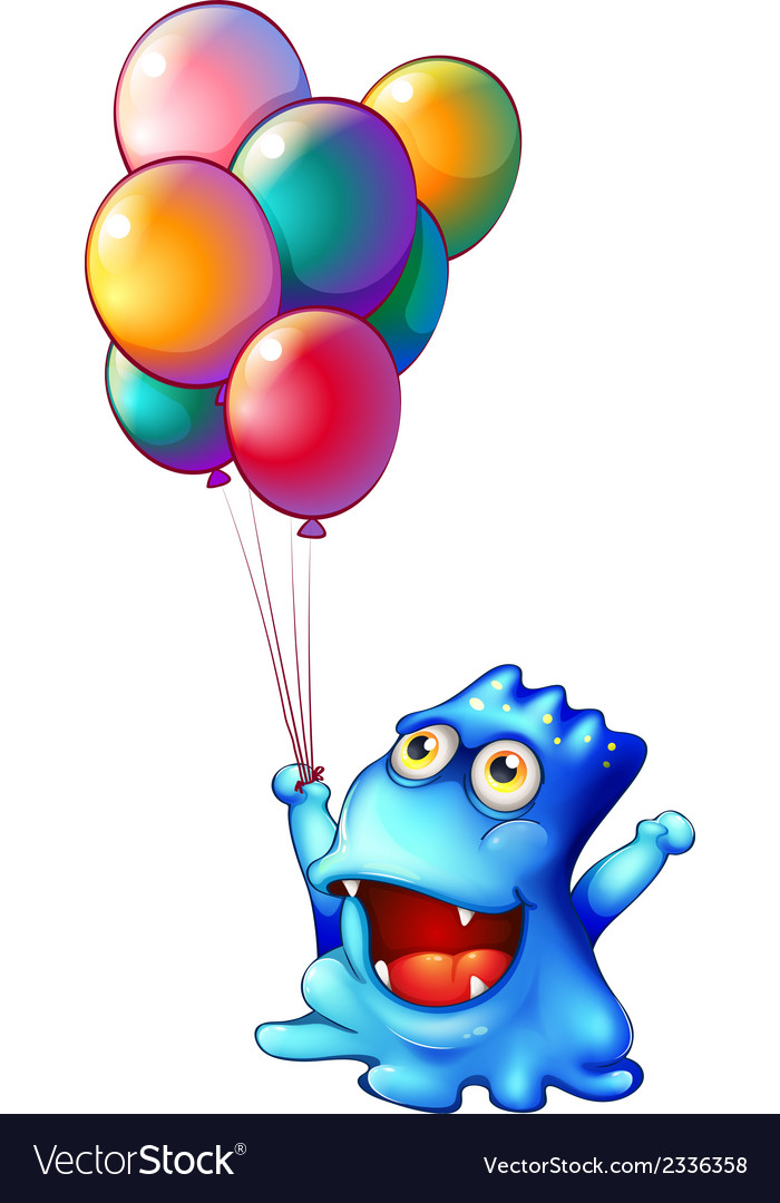 A monster with balloons vector | Price: 1 Credit (USD $1)