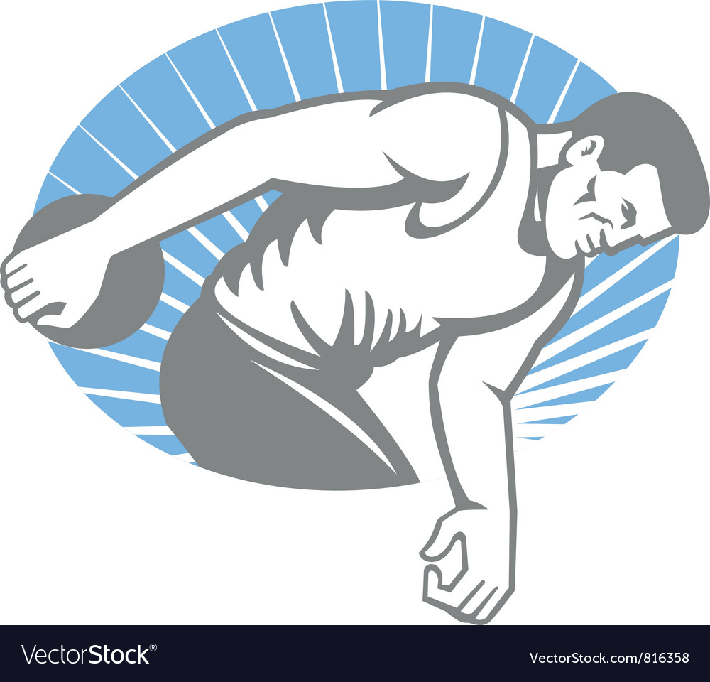 Athlete discus throw retro vector | Price: 1 Credit (USD $1)