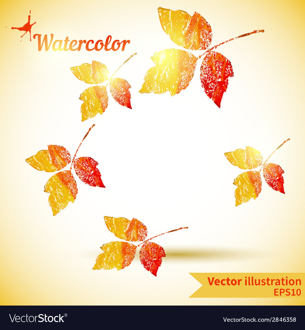 Autumn composition with yellow and red leaves vector | Price: 1 Credit (USD $1)