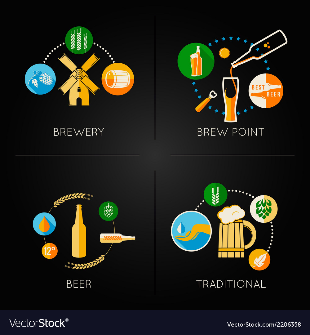Beer set flat icons vector | Price: 1 Credit (USD $1)