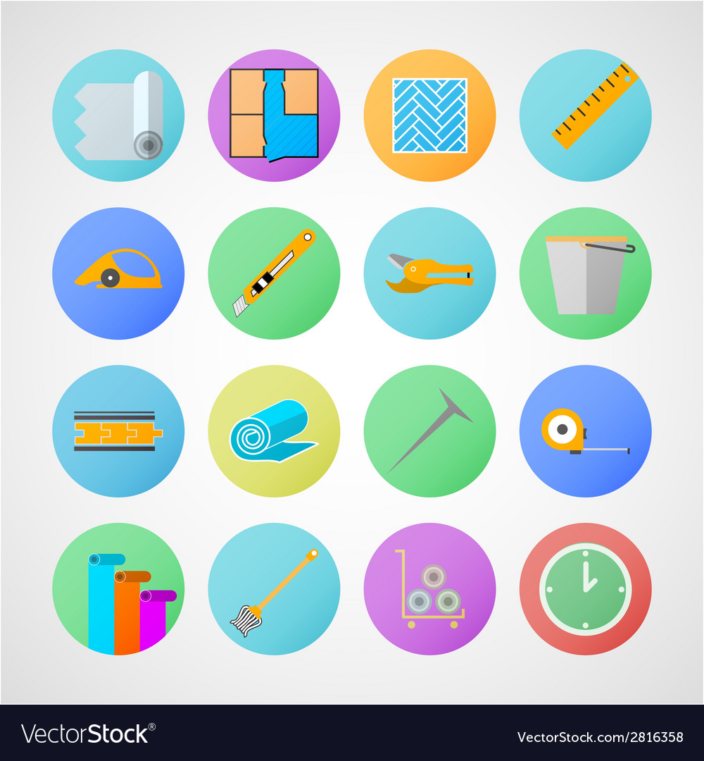 Circle icons for linoleum flooring service vector | Price: 1 Credit (USD $1)