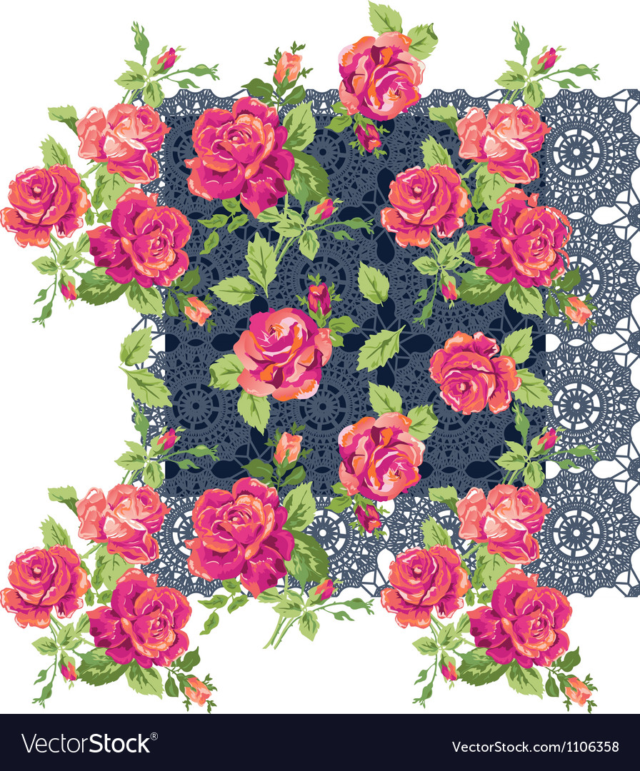 Classic lace roses vector | Price: 1 Credit (USD $1)