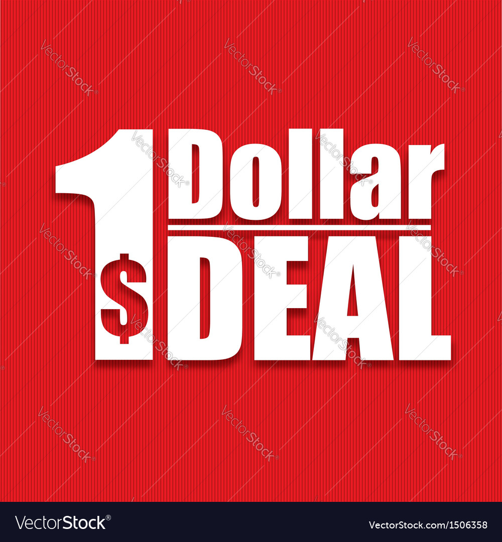Dollar deal poster on a red background vector | Price: 1 Credit (USD $1)