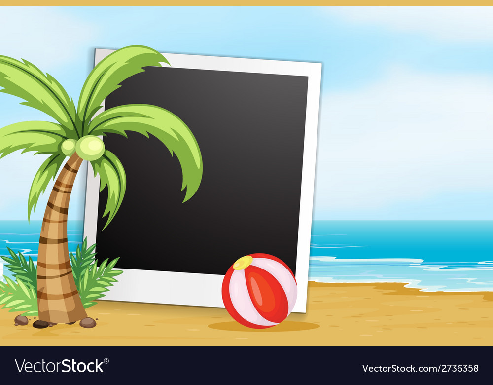 Frame with beach background vector | Price: 1 Credit (USD $1)