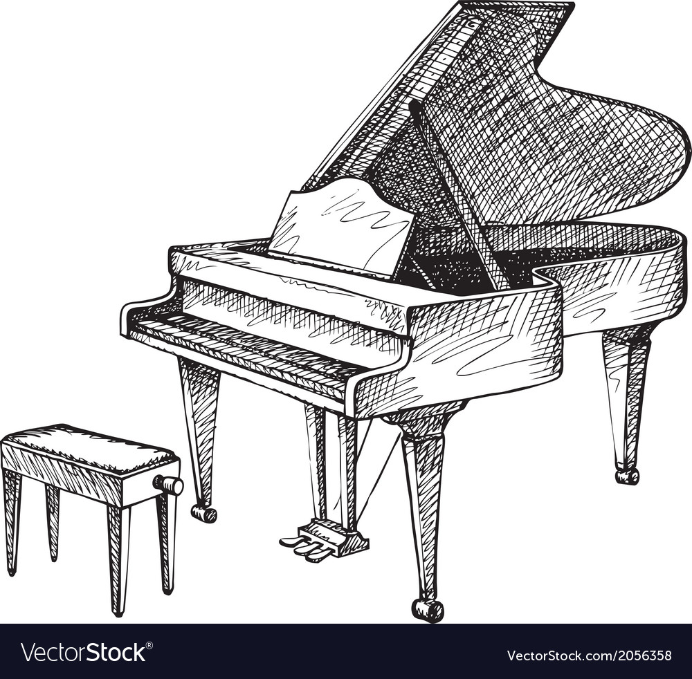 Grand piano and stool for a musician vector | Price: 1 Credit (USD $1)