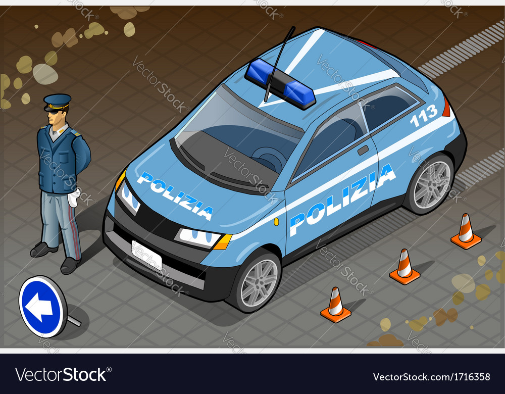 Isometric italian police car vector | Price: 1 Credit (USD $1)