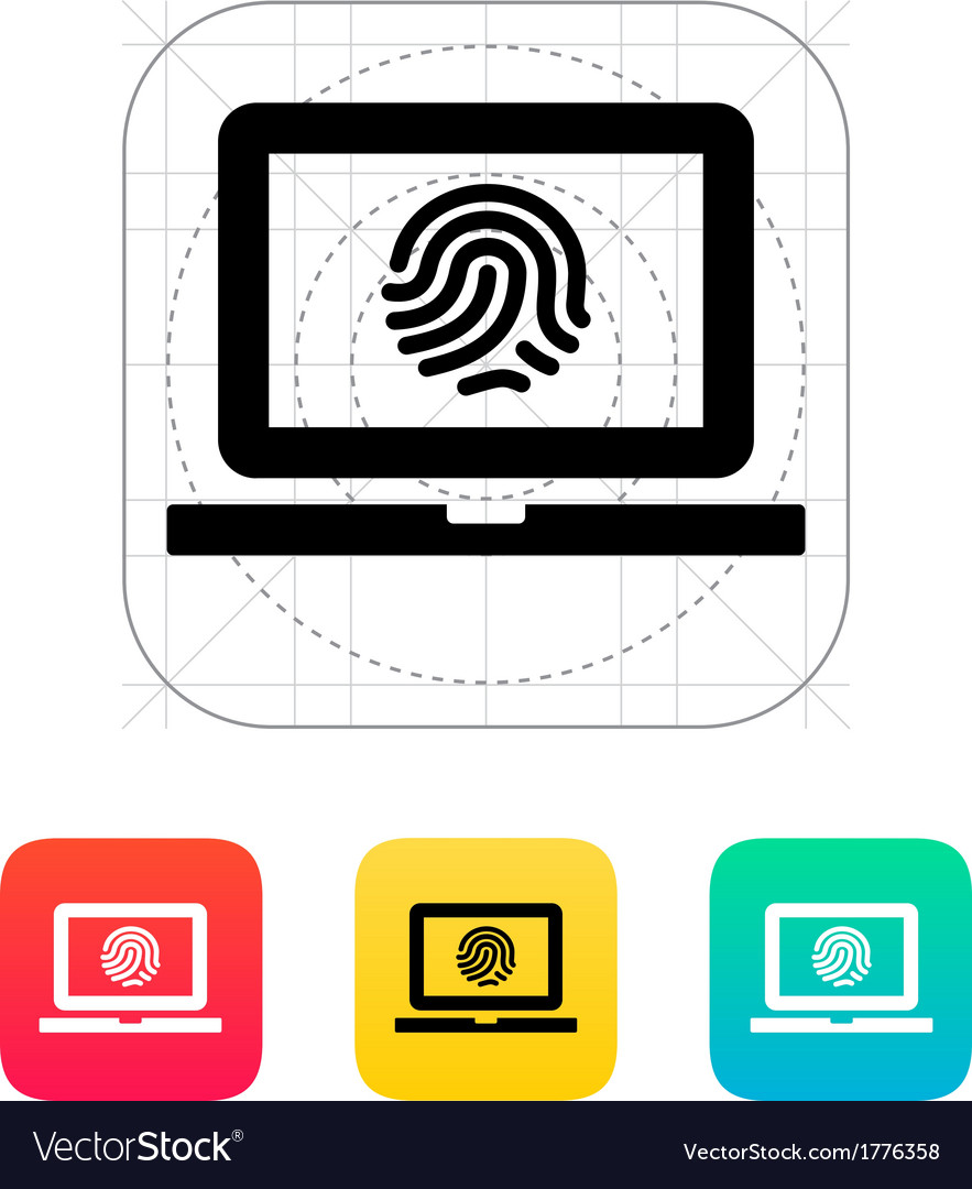 Laptop fingerprint icon vector | Price: 1 Credit (USD $1)