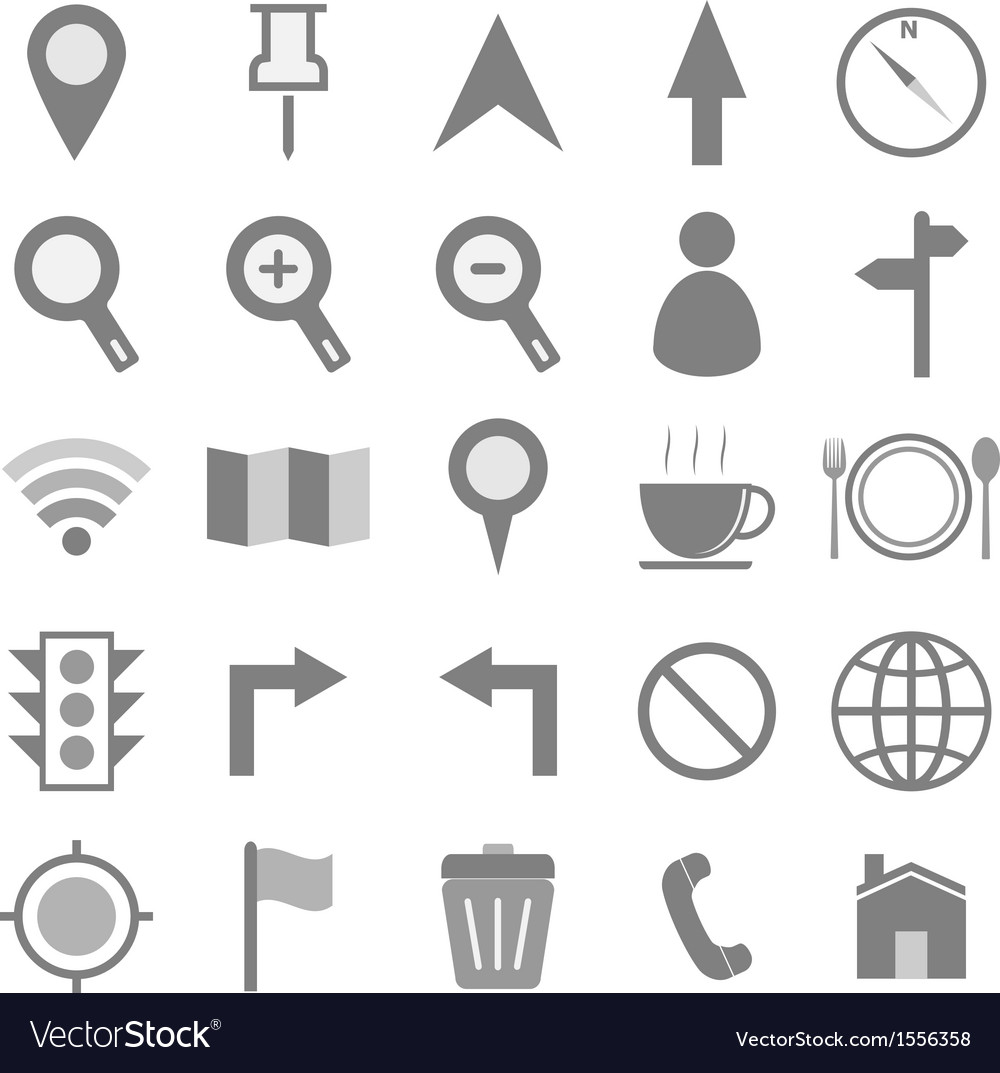 Map icons on white background vector | Price: 1 Credit (USD $1)