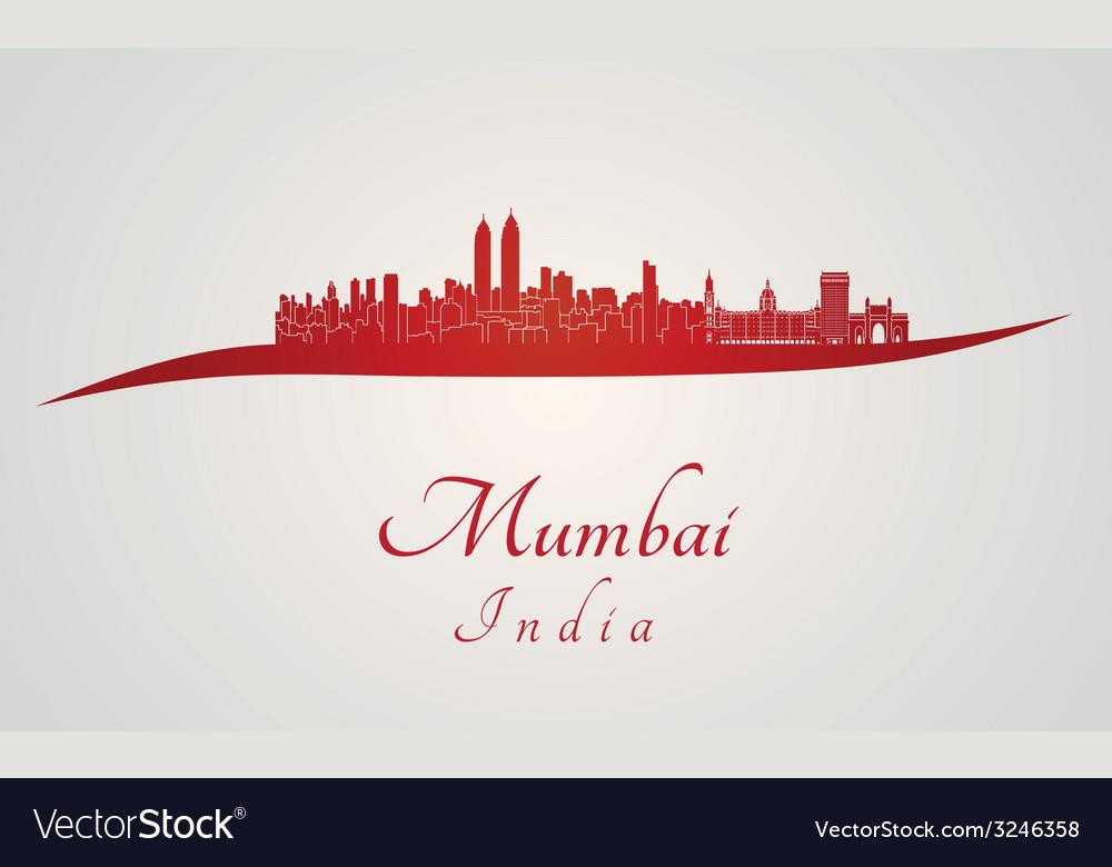 Mumbai skyline in red vector | Price: 1 Credit (USD $1)