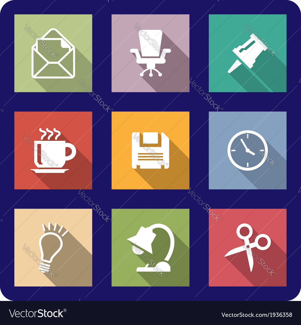 Office icons on coloured backgrounds vector   Price: 1 Credit (USD $1)