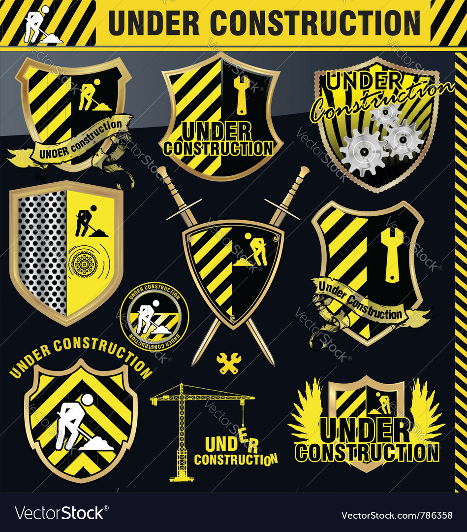 Under construction shield - set vector | Price: 3 Credit (USD $3)