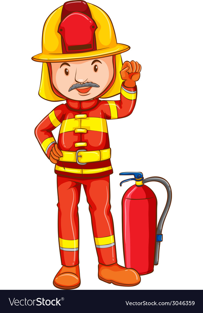 A simple drawing of a fireman vector | Price: 1 Credit (USD $1)