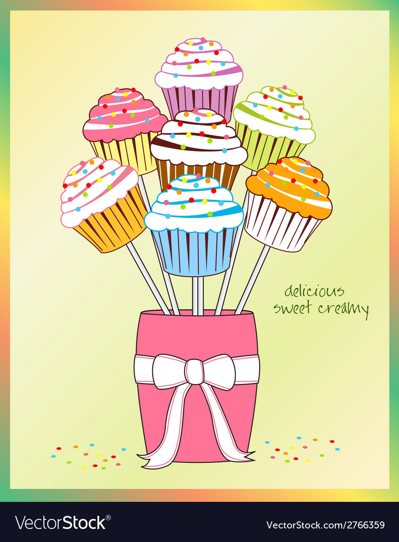 Cupcake bouquet vector | Price: 1 Credit (USD $1)