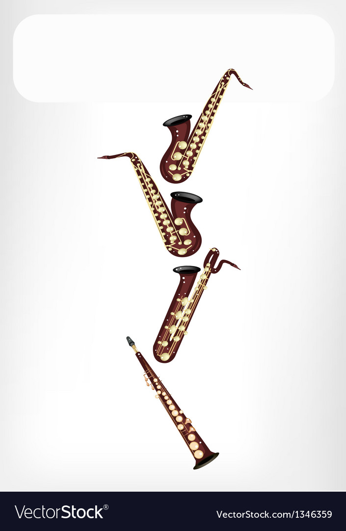 Different kind of saxophone with a white banner vector   Price: 1 Credit (USD $1)