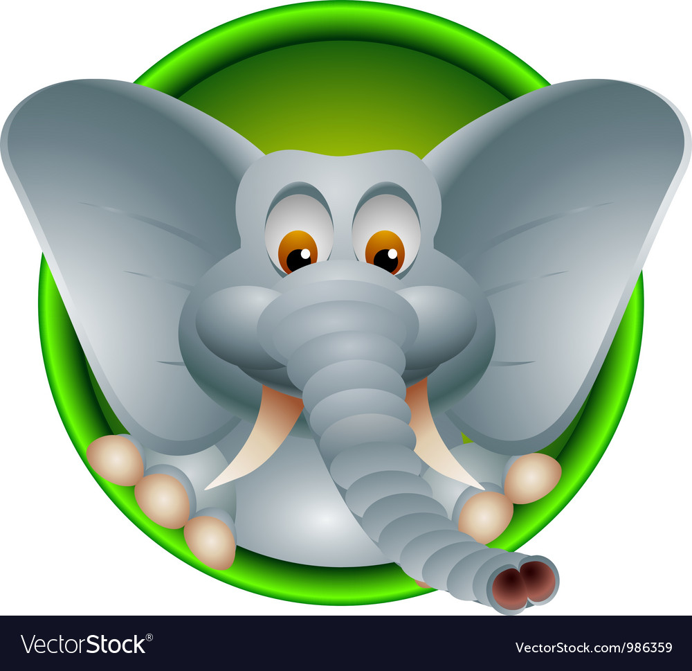 Funny head elephant isolated vector | Price: 1 Credit (USD $1)