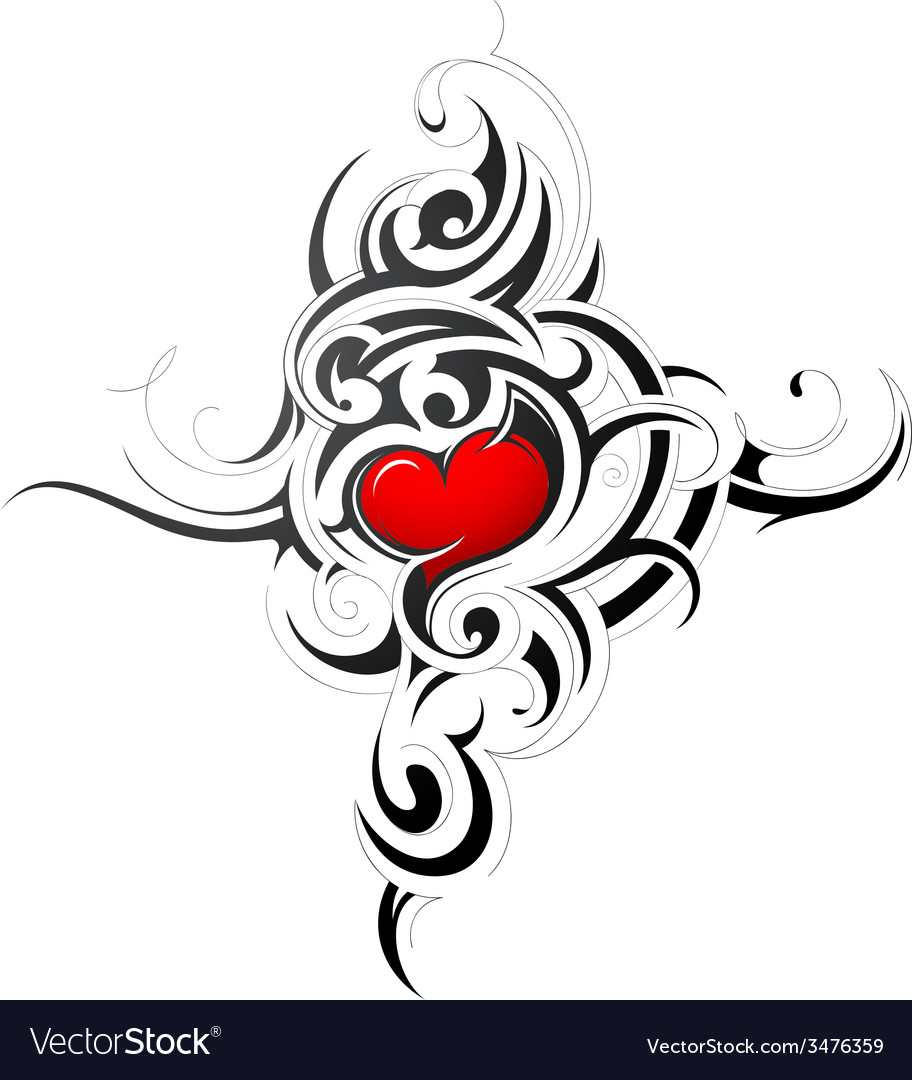 Heart shape in tribal style tattoo vector | Price: 1 Credit (USD $1)