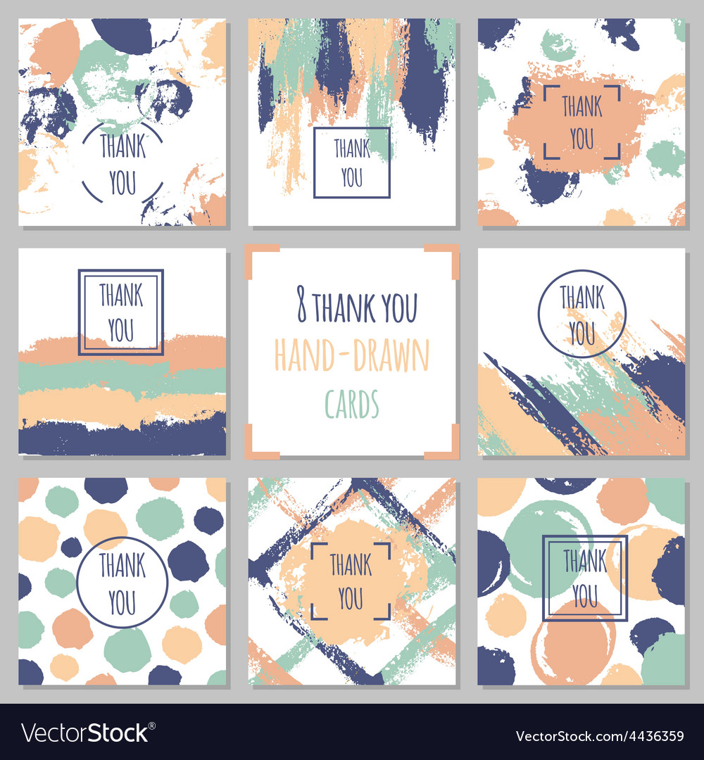 Set of thank you cards hand drawn backgrounds vector | Price: 1 Credit (USD $1)