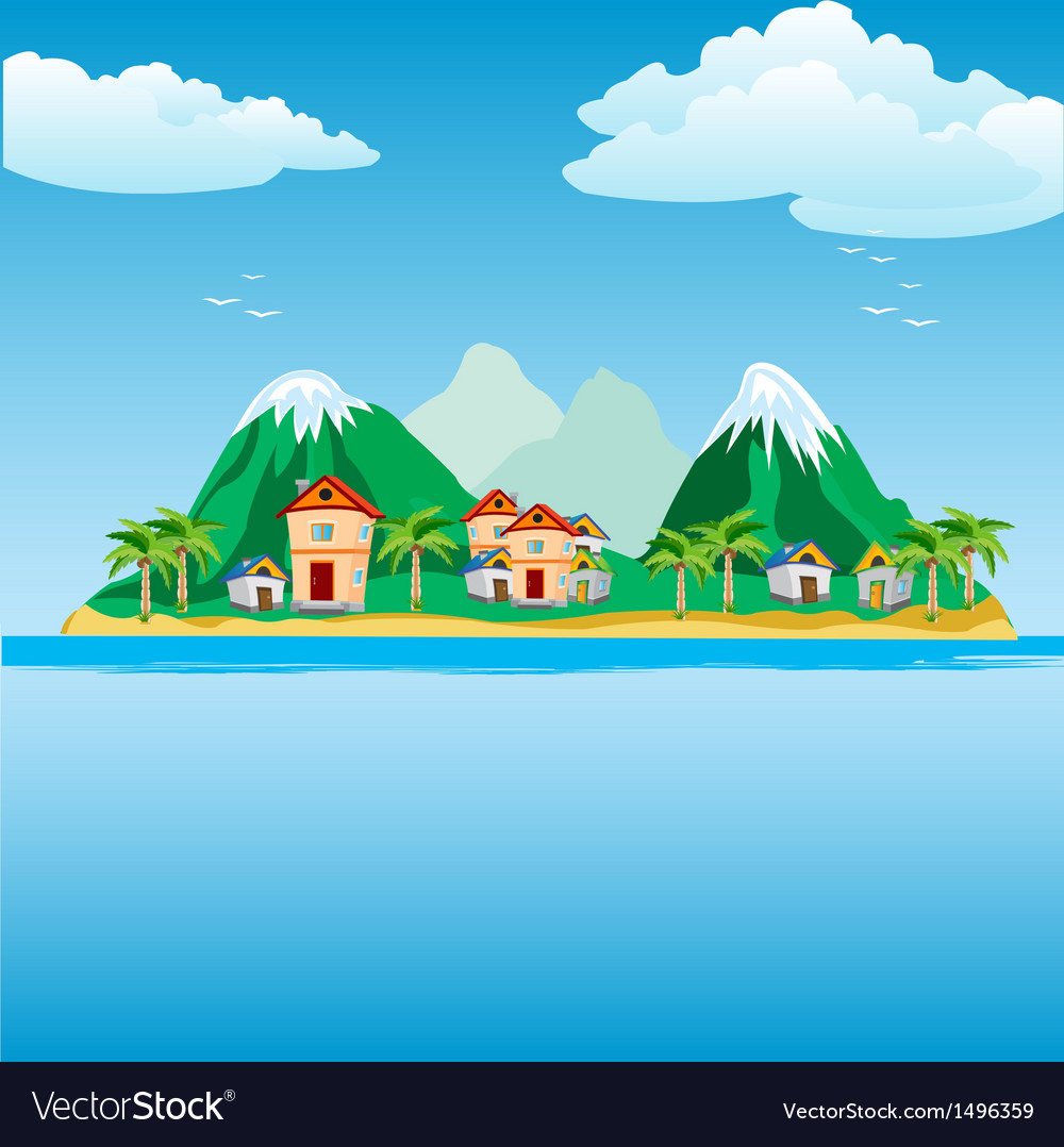 Small island in ocean vector | Price: 1 Credit (USD $1)