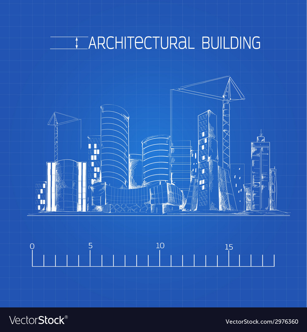 Architectural building blueprint vector | Price: 1 Credit (USD $1)