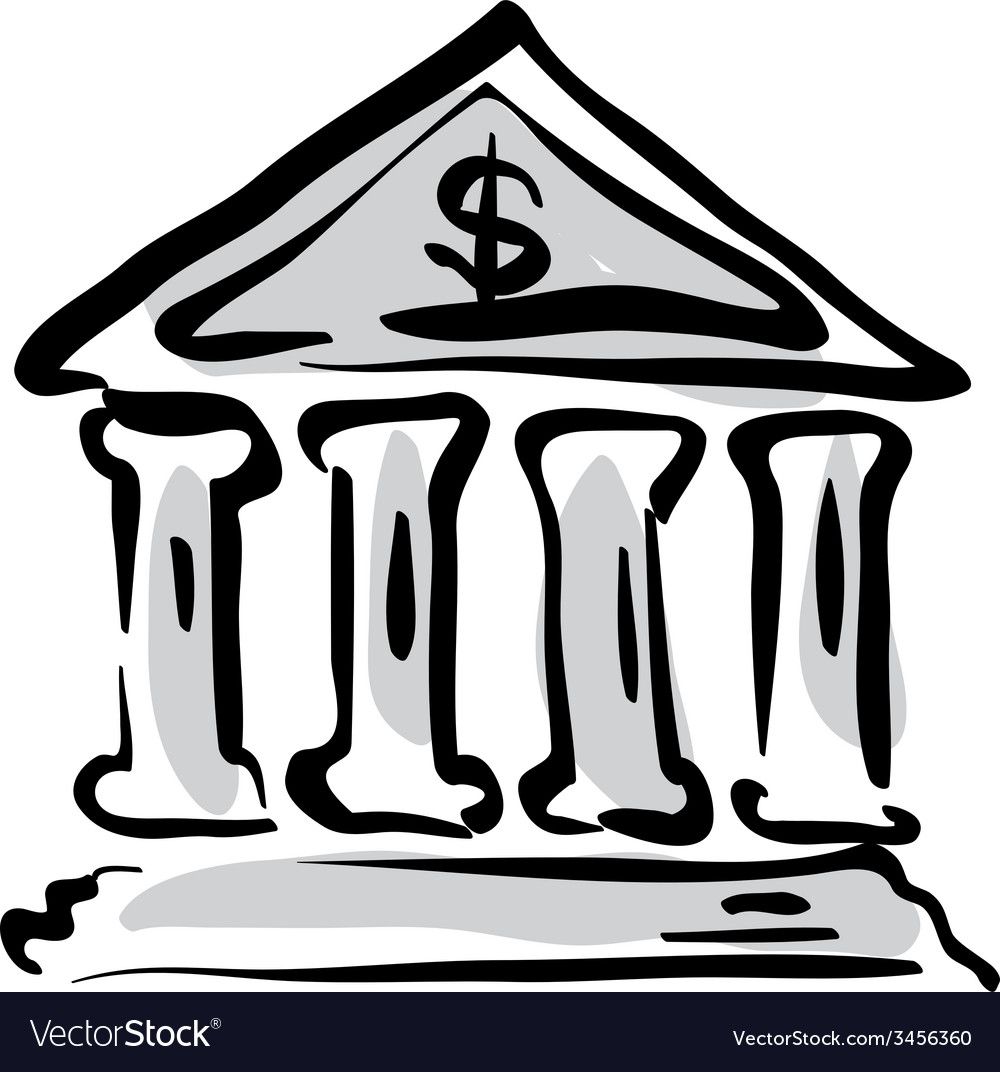 Bank building icon hand drawn bank sign vector | Price: 1 Credit (USD $1)