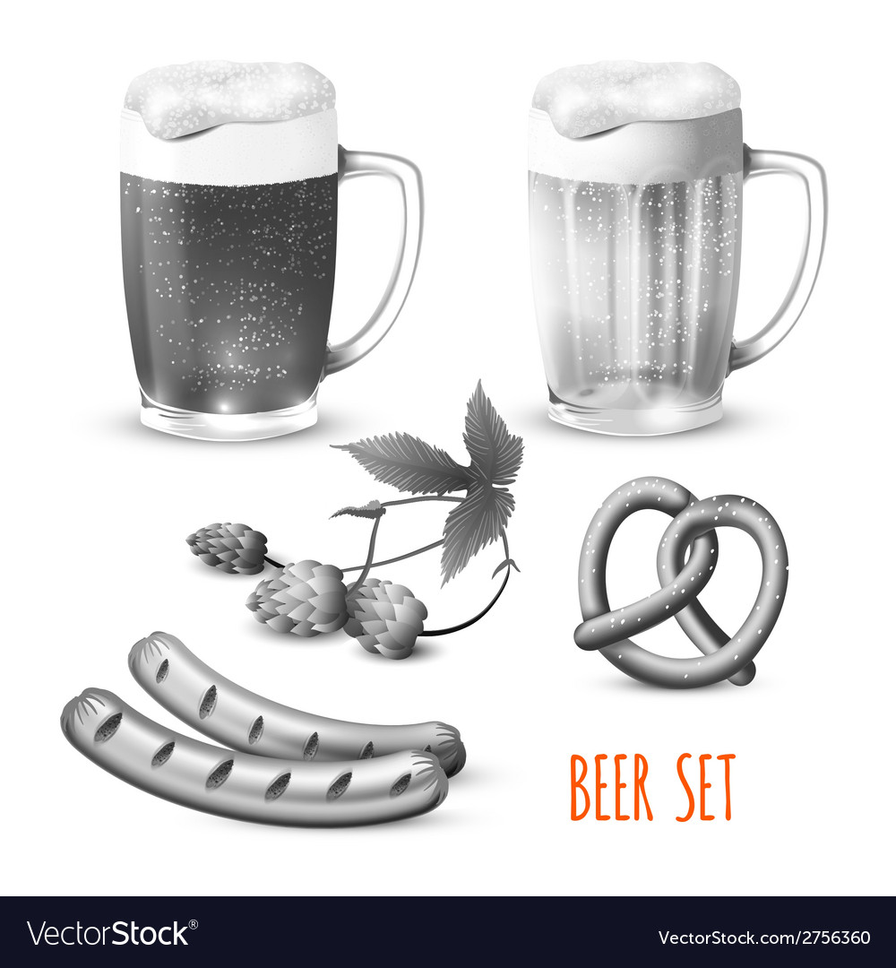 Beer set black and white vector | Price: 1 Credit (USD $1)