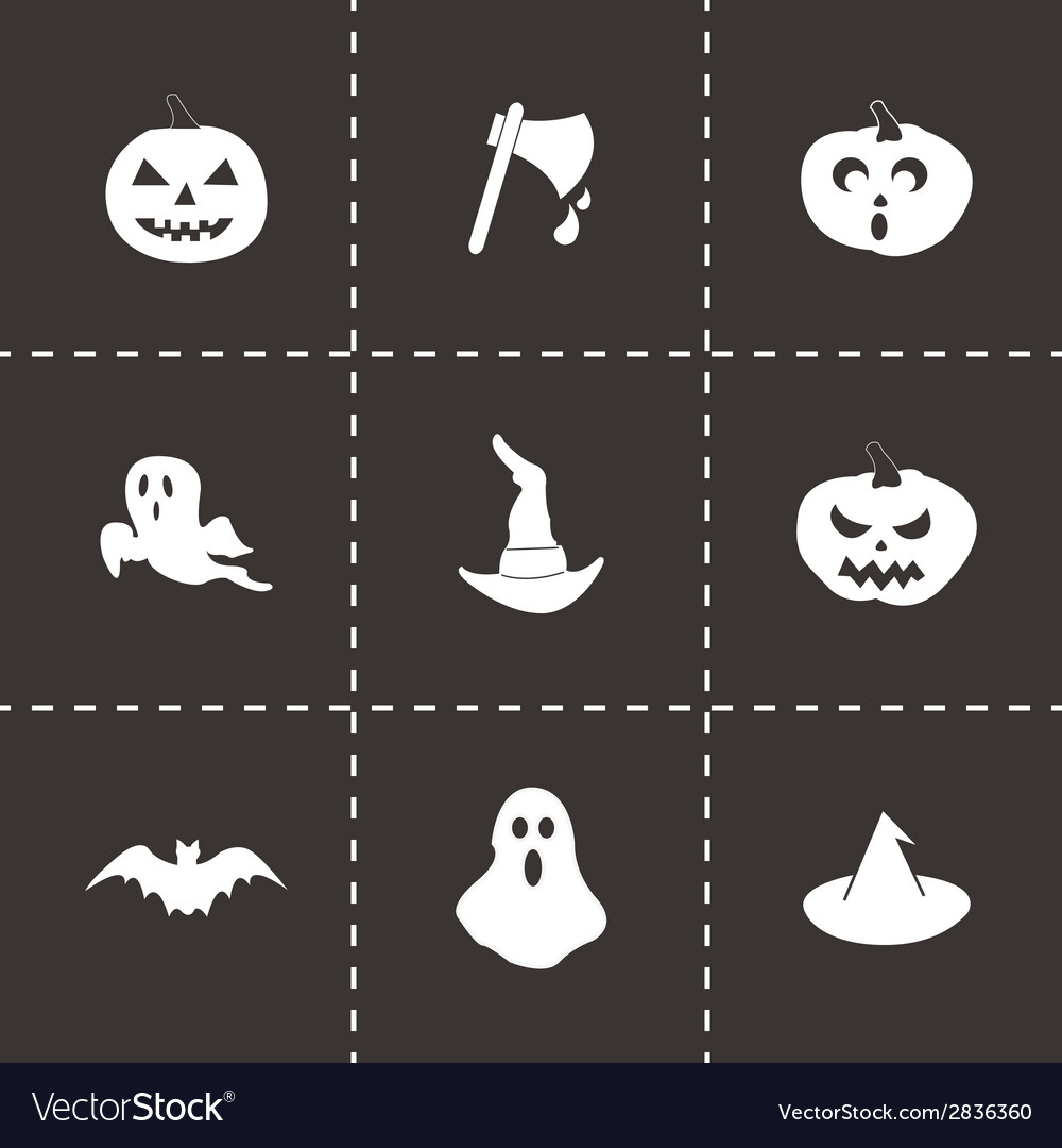 Black halloween icons set vector | Price: 1 Credit (USD $1)