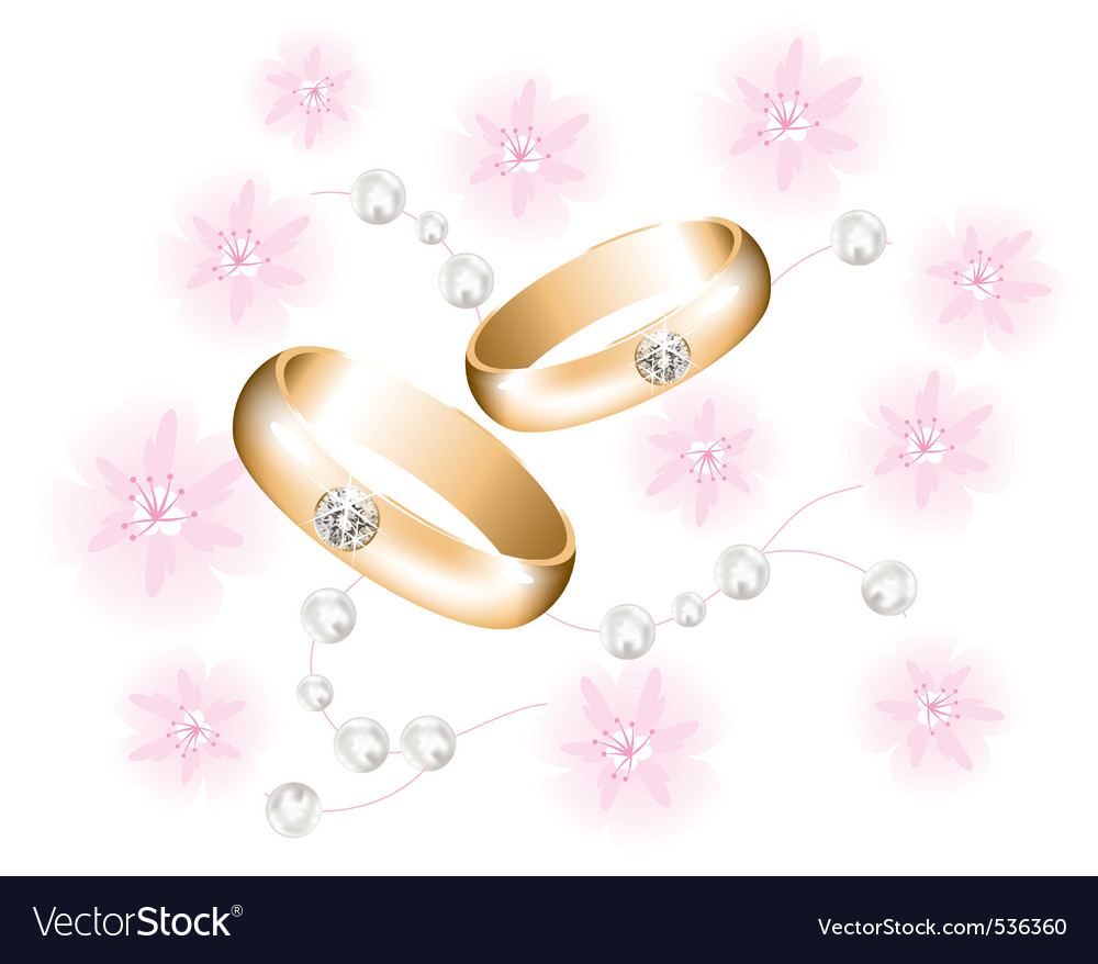 golden wedding rings with diamonds vector | Price: 1 Credit (USD $1)