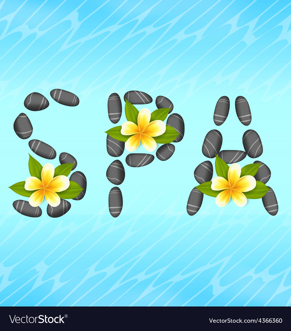 Lettering spa made of pebbles and frangipani vector | Price: 1 Credit (USD $1)
