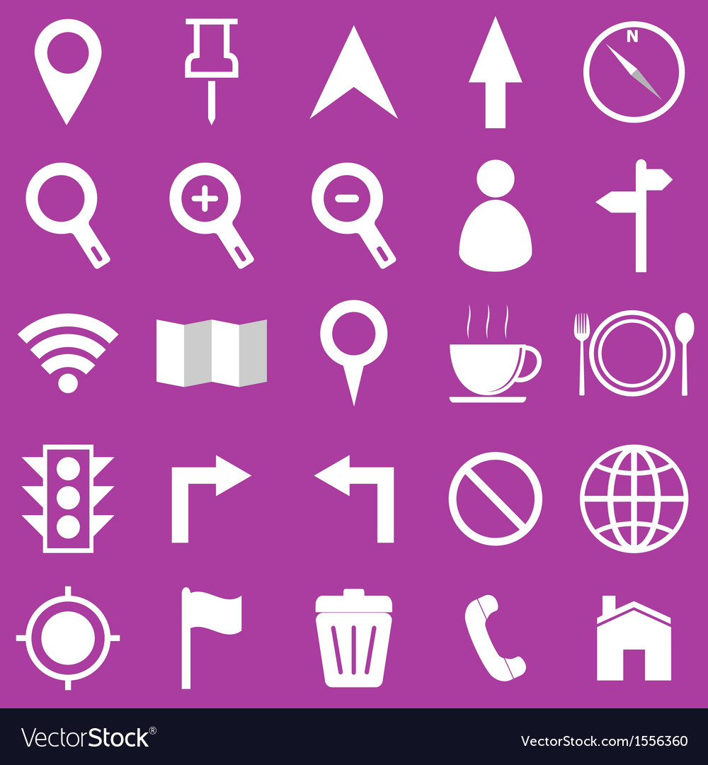 Map icons on purple background vector | Price: 1 Credit (USD $1)