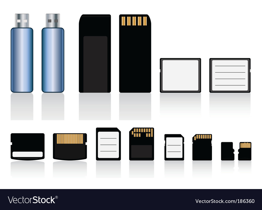 Memory cards drive collection vector | Price: 1 Credit (USD $1)