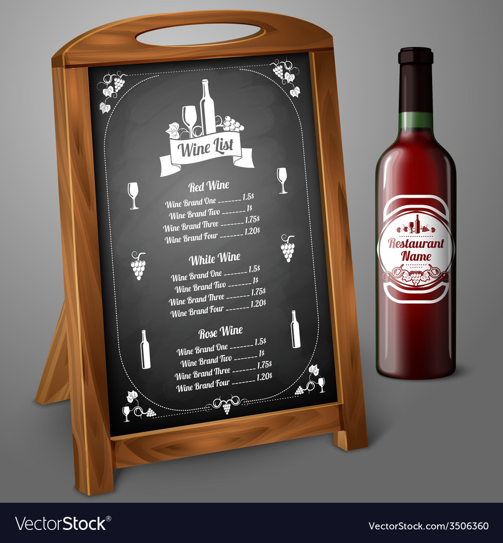 Menu template on chalkboard - for alcohol with vector | Price: 1 Credit (USD $1)
