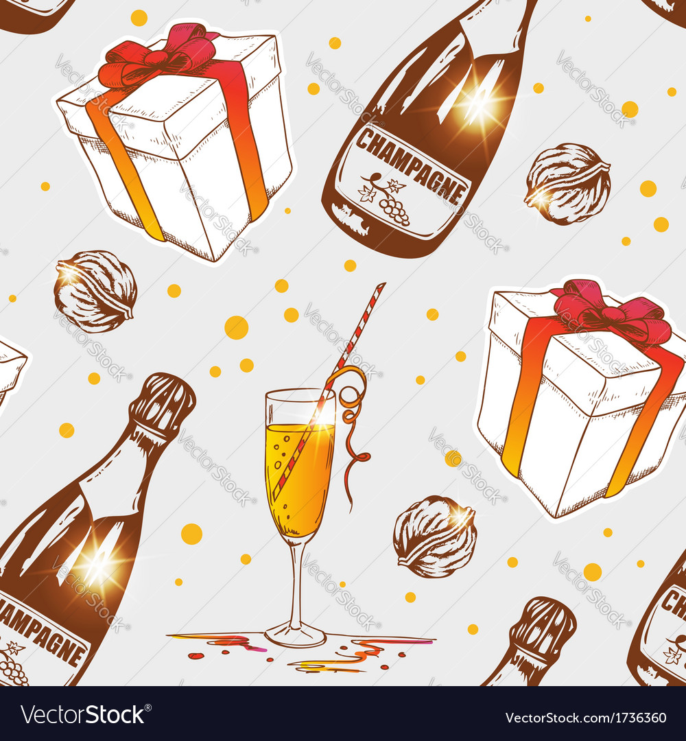 Seamless pattern with champagne vector | Price: 1 Credit (USD $1)