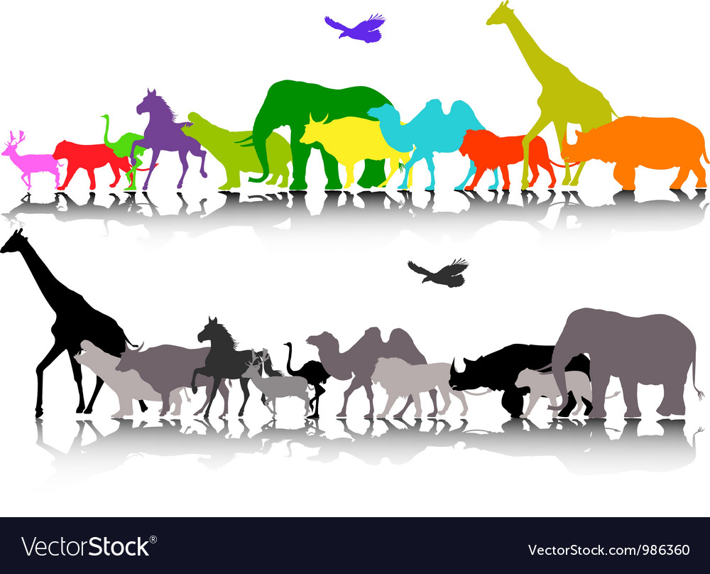 Silhouette of safari animal wildlife vector | Price: 1 Credit (USD $1)