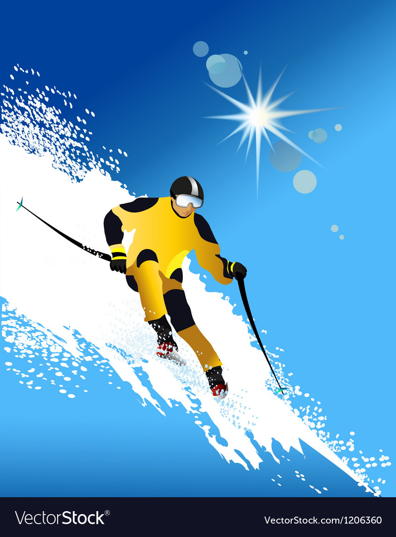 Skier vector | Price: 1 Credit (USD $1)