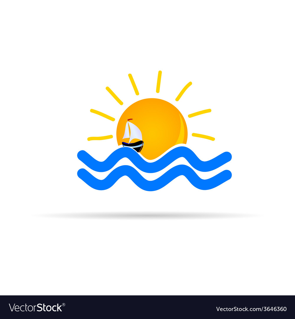 Sun and sea with boat icon color vector