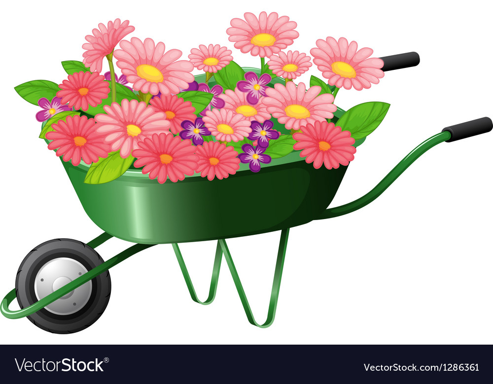 A construction cart with lots of flowers vector | Price: 1 Credit (USD $1)