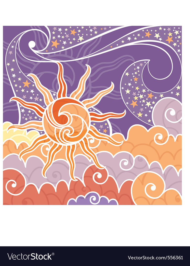 Abstract lovely background with sun and stars vector   Price: 1 Credit (USD $1)