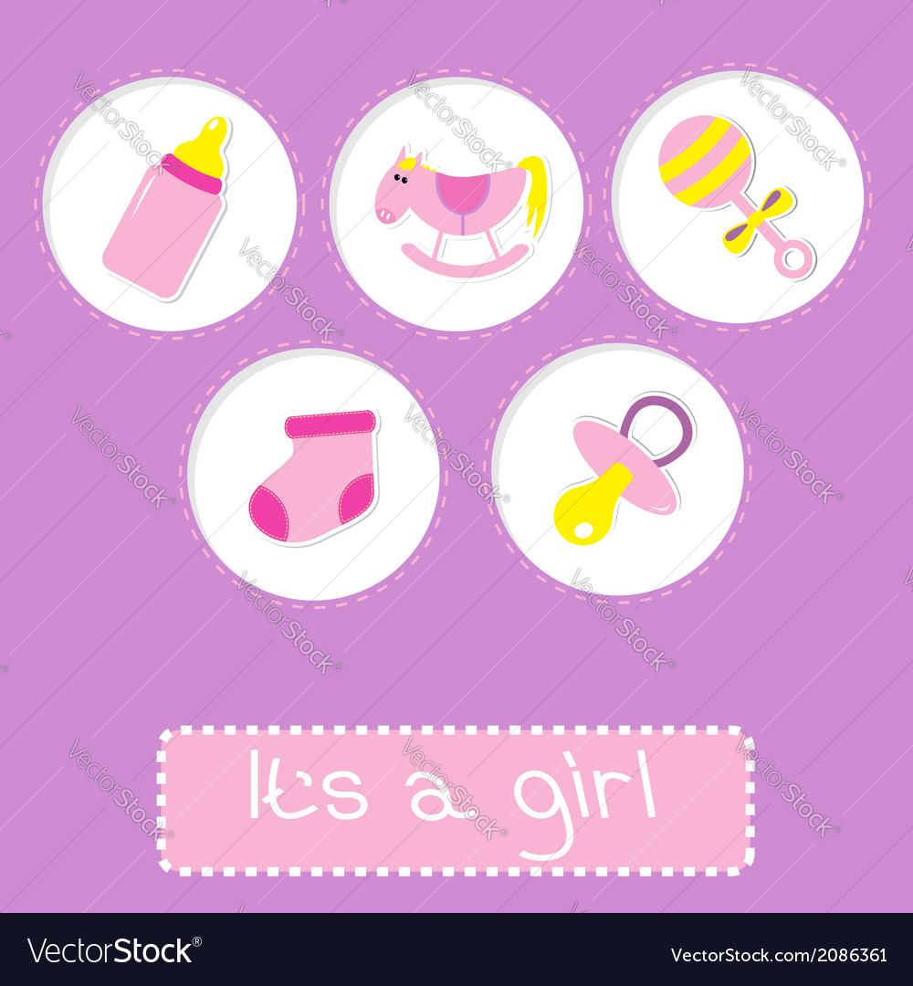 Baby girl shower card with bottle horse rattle vector | Price: 1 Credit (USD $1)