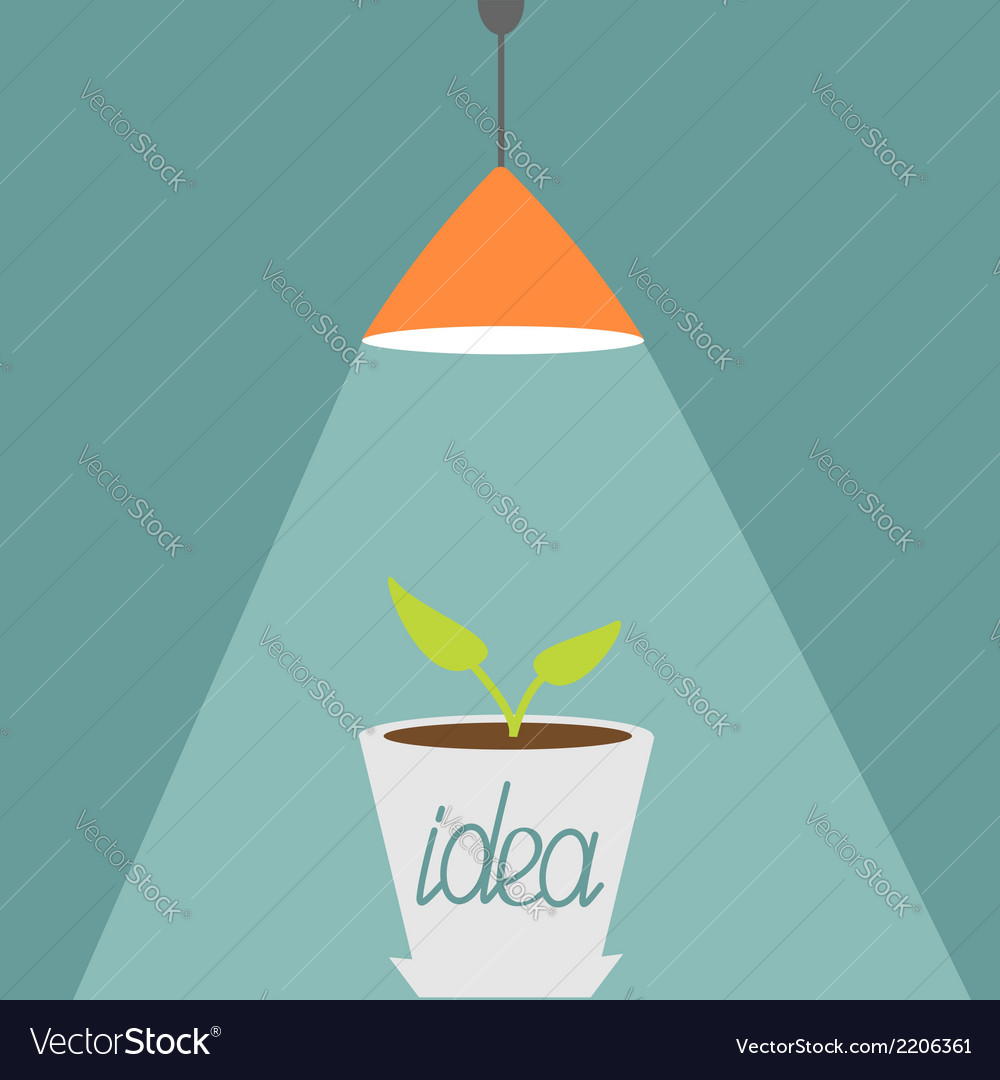 Ceiling light lamp with ray of light and plant vector | Price: 1 Credit (USD $1)