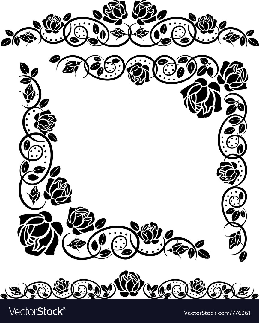 Corners with roses decoration vector | Price: 1 Credit (USD $1)