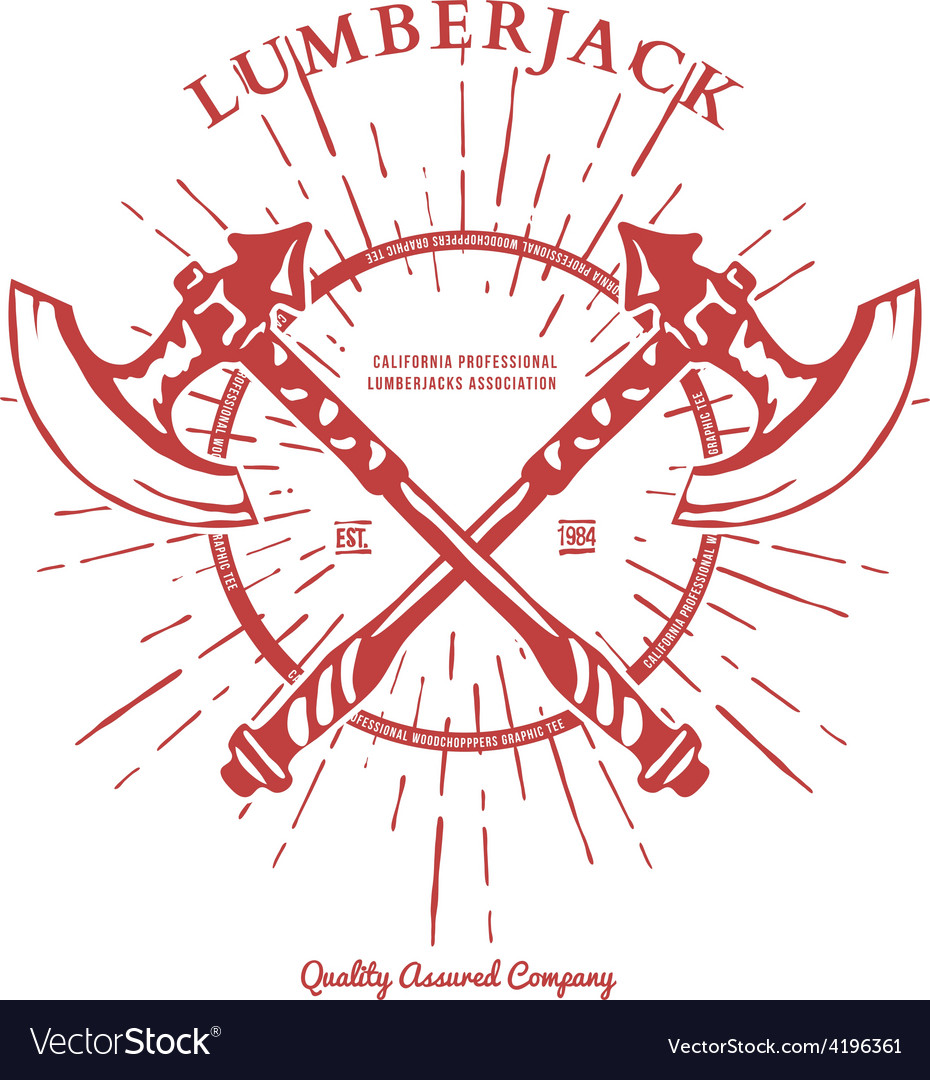 Crossed axes lumberjack graphic tee t-print vector | Price: 1 Credit (USD $1)