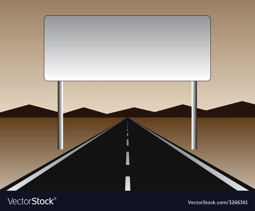Empty road - empty billboard vector | Price: 1 Credit (USD $1)