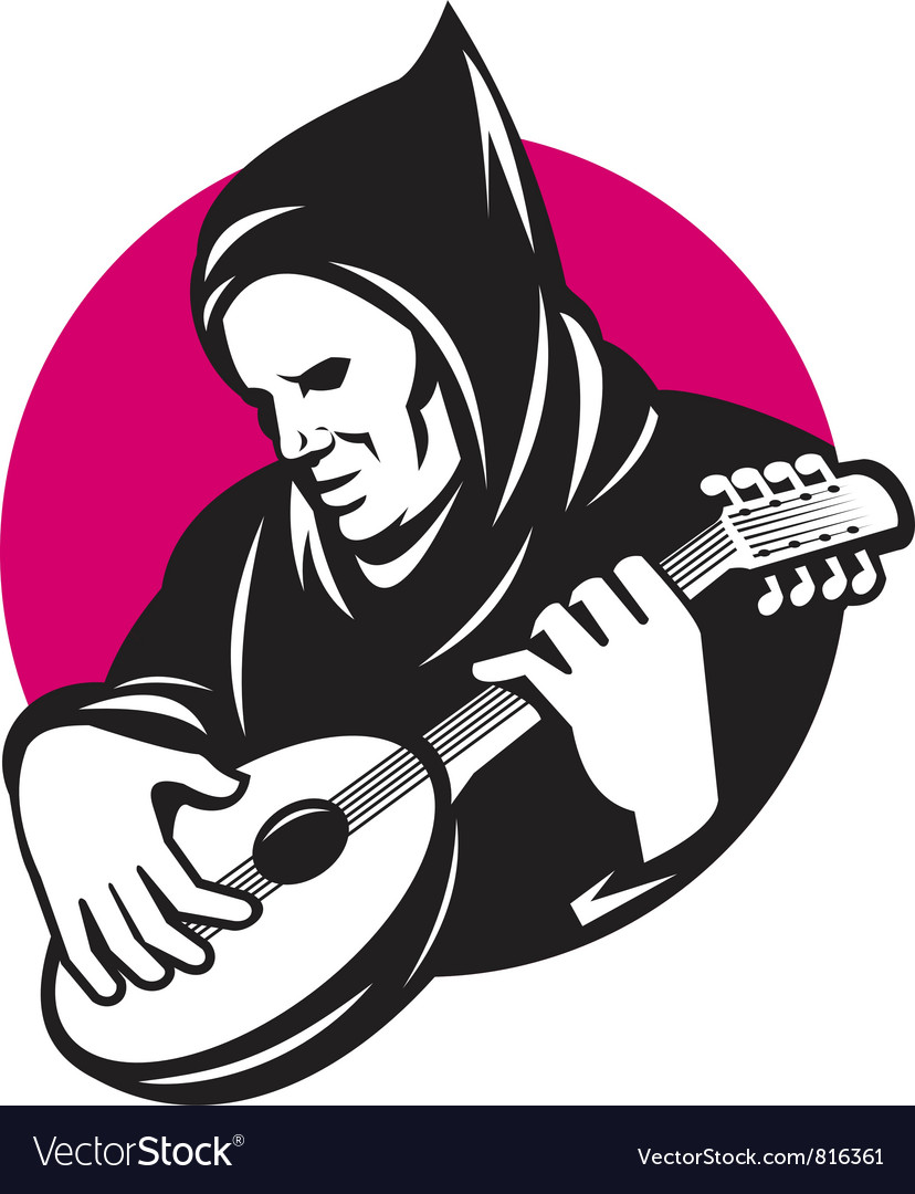 Hooded man playing banjo vector | Price: 1 Credit (USD $1)