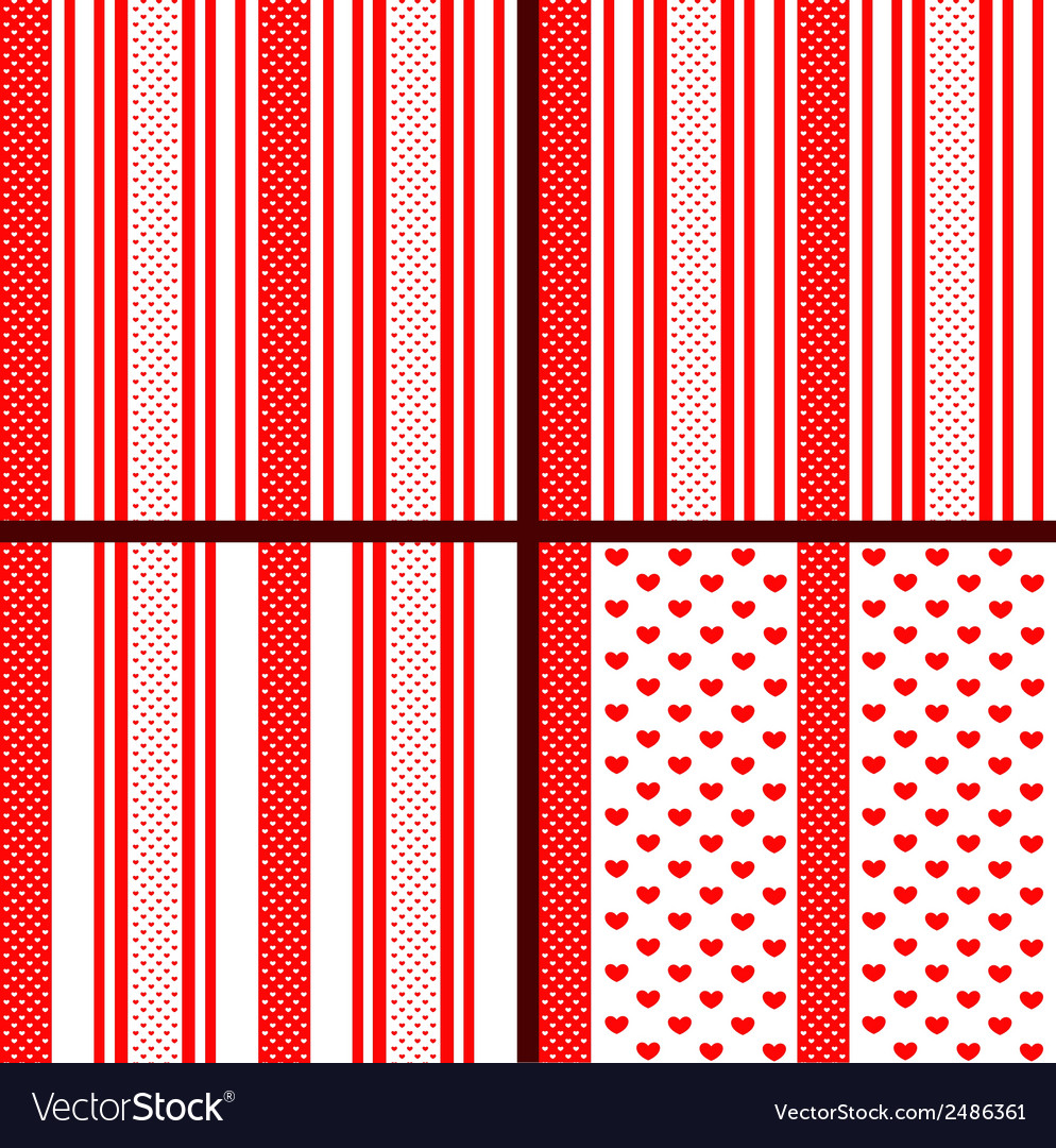 Red striped heart patterns vector | Price: 1 Credit (USD $1)