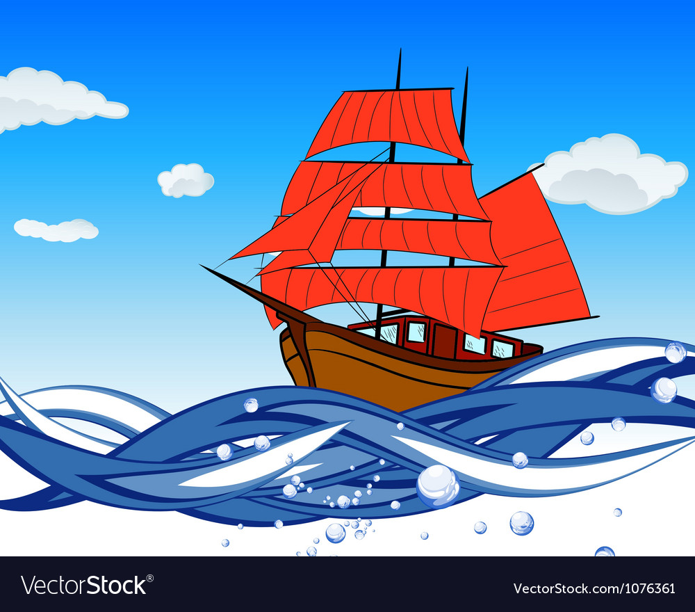 Sailboat with scarlet sail vector | Price: 3 Credit (USD $3)
