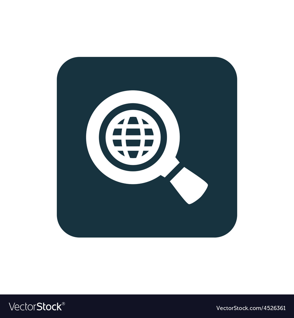 Search globe icon rounded squares button vector | Price: 1 Credit (USD $1)